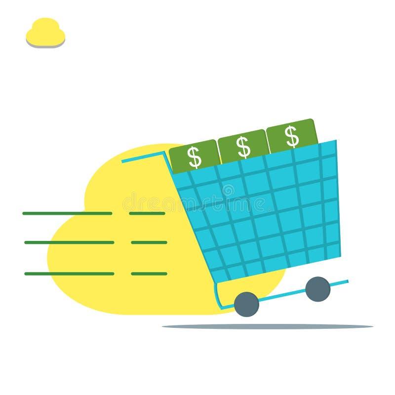 El carro de la compra, gasta el ejemplo plano del estilo del dinero - vector ilustración del vector