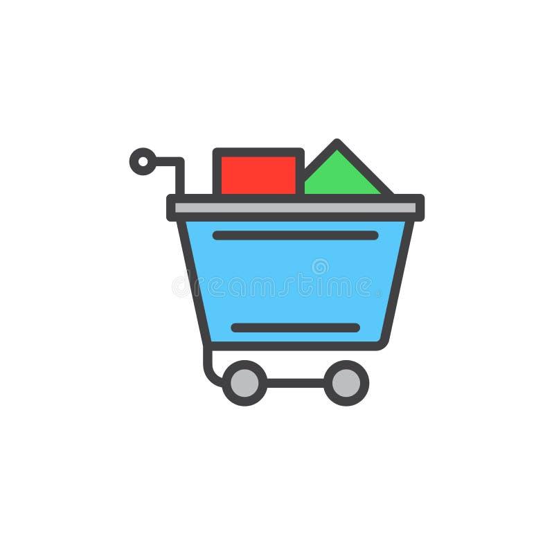 El carro de la compra lleno llenó el icono del esquema, muestra del vector libre illustration