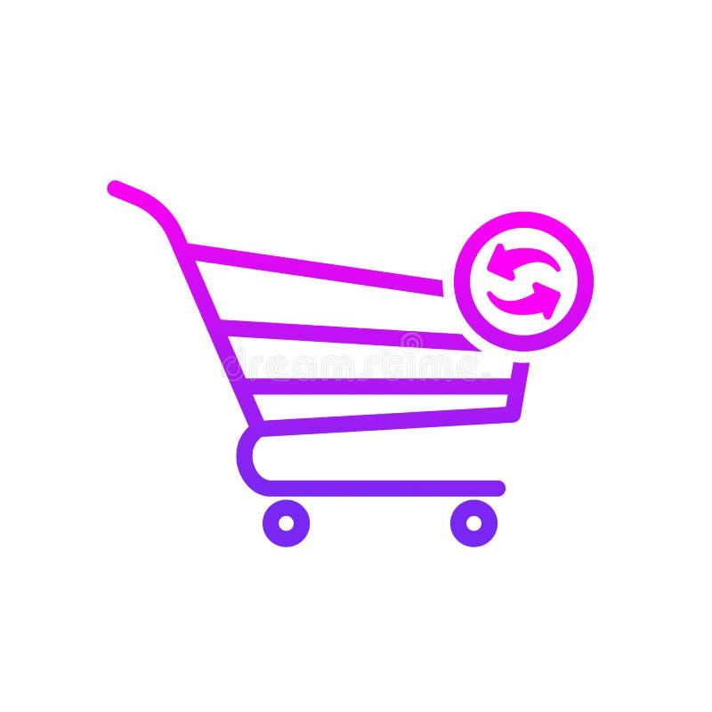 El carro de la compra restaura el icono de la tienda de la tienda stock de ilustración