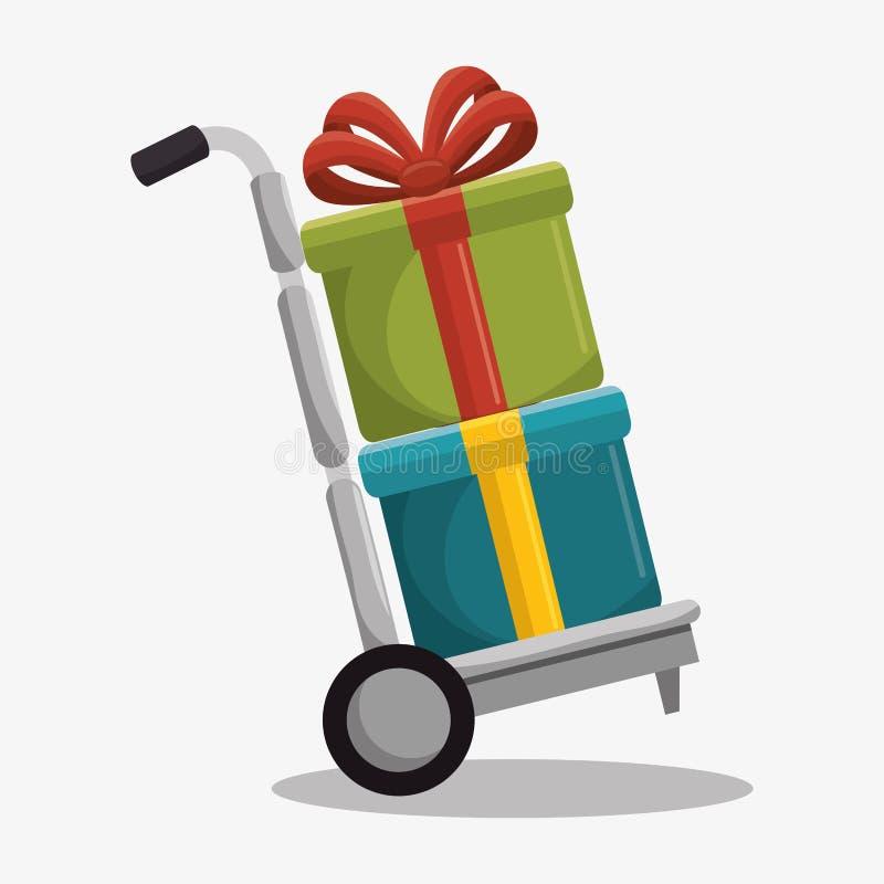 el carro de la entrega con los regalos aisló el icono libre illustration