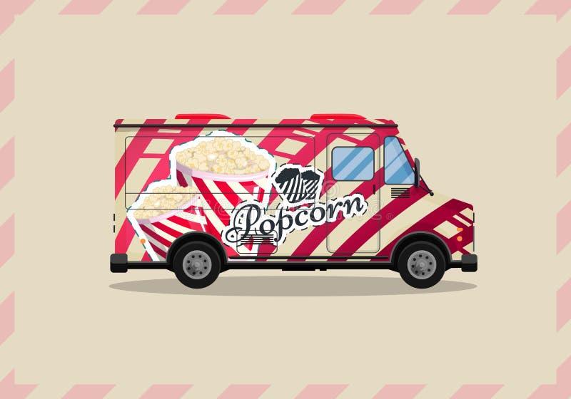El carro de las palomitas, el quiosco en las ruedas, los minoristas, los dulces y el estilo plano de los productos de la confiter ilustración del vector