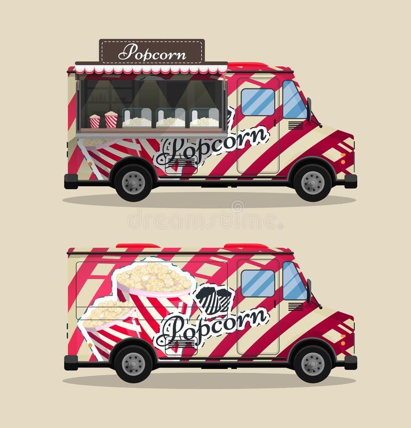 El carro de las palomitas, el quiosco en las ruedas, los minoristas, los dulces y los productos de la confitería, y el estilo pla ilustración del vector