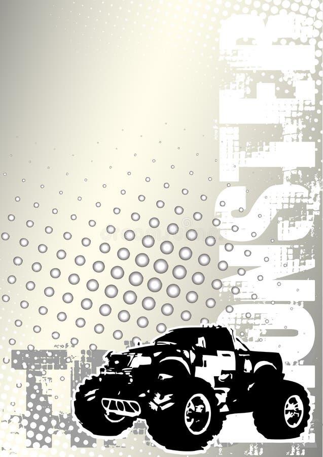 El carro de monstruo puntea el backgroud del metal stock de ilustración