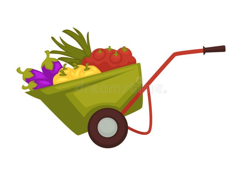 El carro del granjero con los productos de la cosecha vector el ejemplo libre illustration