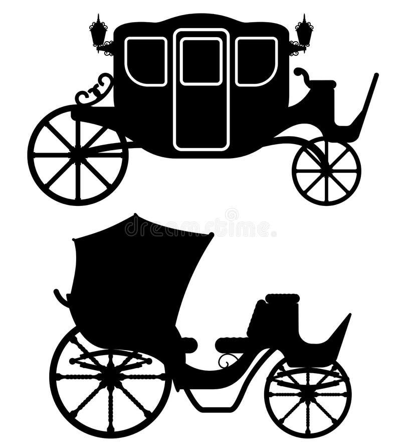 El carro para el transporte de la gente ennegrece la silueta v del esquema libre illustration