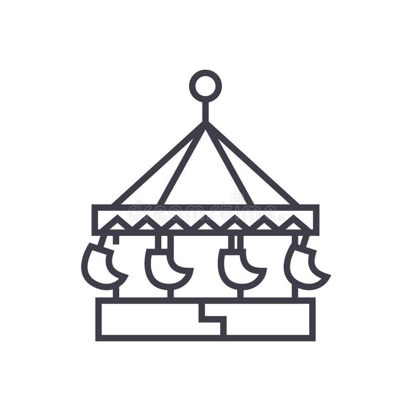 El carrusel, atracción del oscilación, feliz va línea icono, muestra, ejemplo del vector de la ronda en el fondo, movimientos edi libre illustration