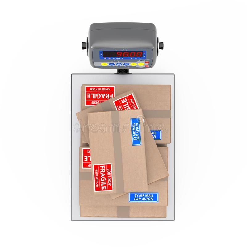 El cartón apilado caja paquetes sobre el cargo Sca de Warehouse Digital libre illustration
