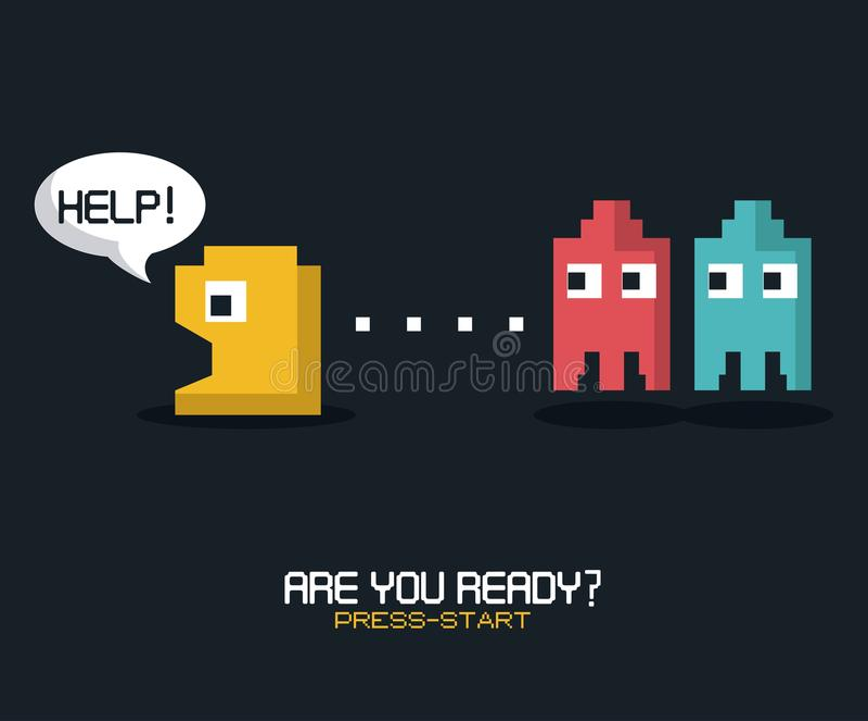 El cartel colorido de es usted alista comienzo de la prensa con los gráficos del juego del pacman stock de ilustración