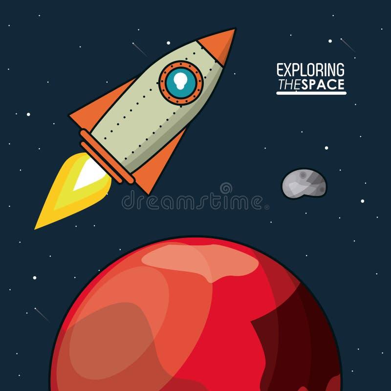 El cartel colorido que explora el espacio con la nave espacial sobre el planeta estropea libre illustration