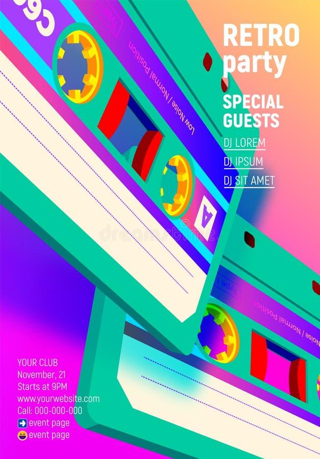 El cartel compacto del casete con 80s retro vibrante diseñó la invitación del partido stock de ilustración