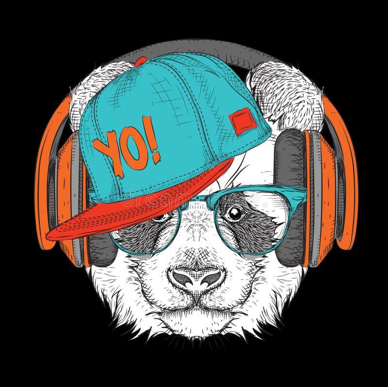El cartel con el retrato de la panda de la imagen en sombrero del hip-hop Ilustración del vector ilustración del vector