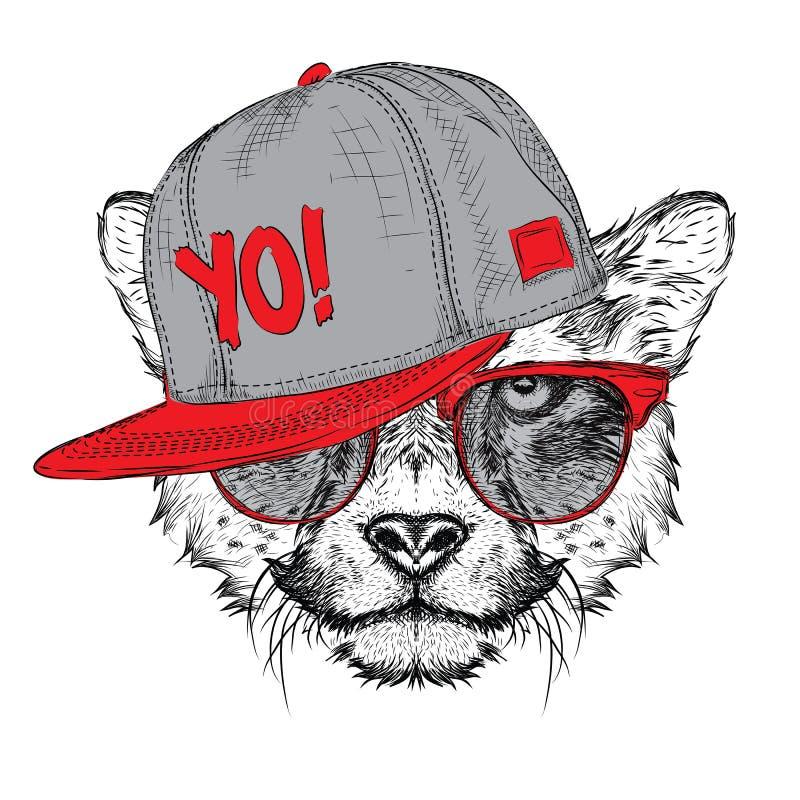 El cartel con el retrato del guepardo de la imagen en sombrero del hip-hop Ilustración del vector stock de ilustración