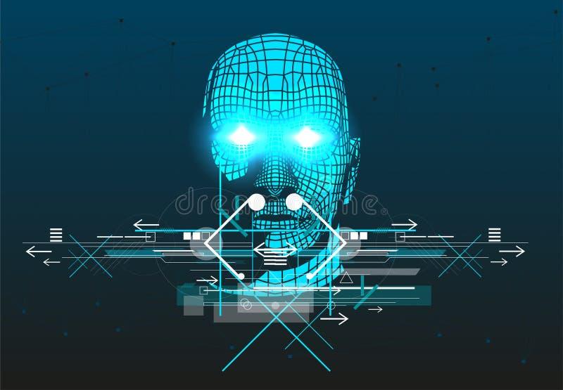 El cartel con la cabeza del hombre 3D ilustración del vector