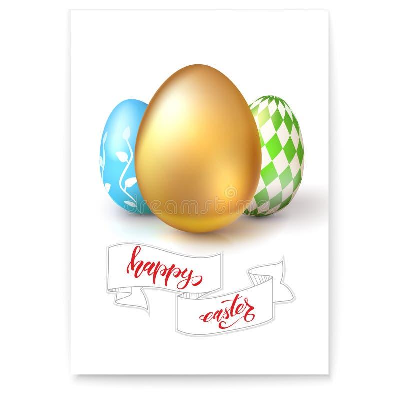 El cartel con los huevos para la celebración de Pascua feliz aisló en blanco Texto a mano pascua feliz de la escritura en vintage libre illustration