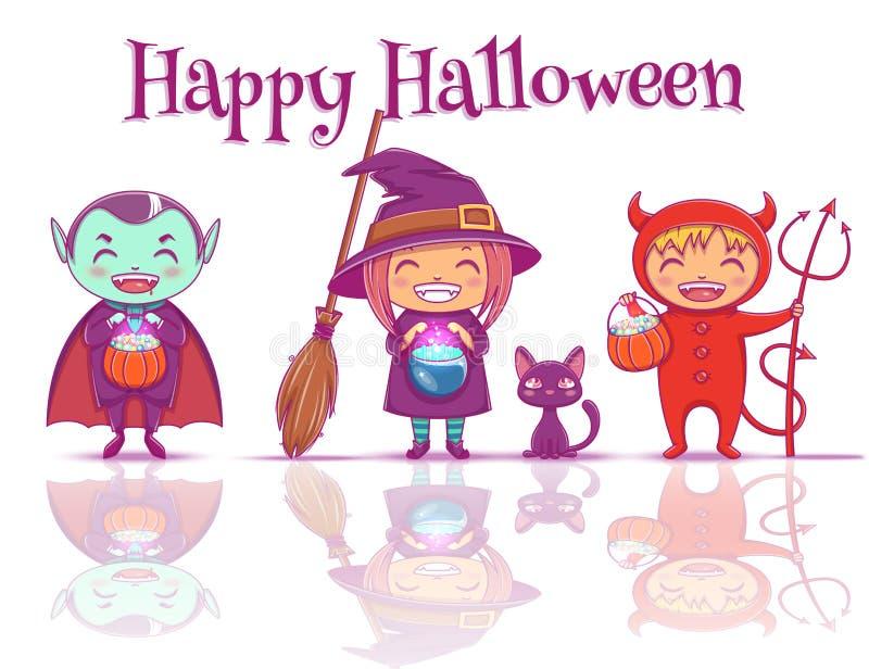 El cartel con los niños en disfraces de Halloween de la bruja, el vampiro y el diablo están listos para el partido del feliz Hall ilustración del vector