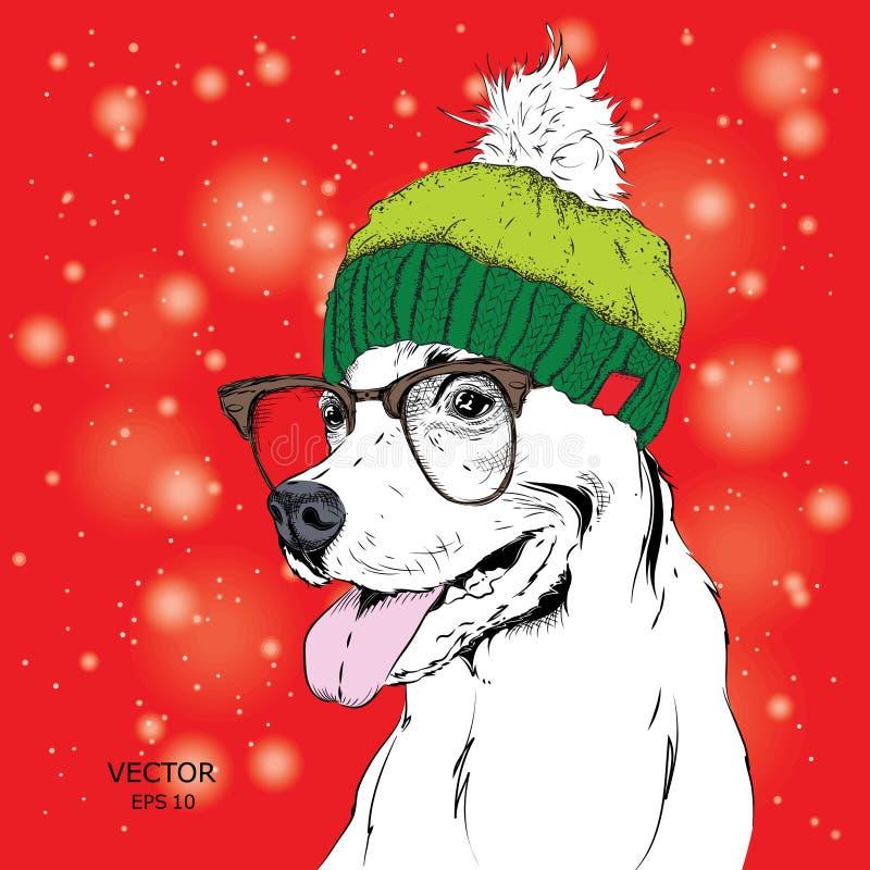 El cartel con el retrato del perro de la imagen en sombrero del invierno Ilustración del vector ilustración del vector