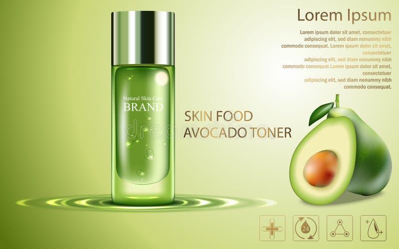 El cartel cosmético del producto de la belleza, anuncios de la crema del aguacate de la fruta con la botella de plata empaqueta l ilustración del vector