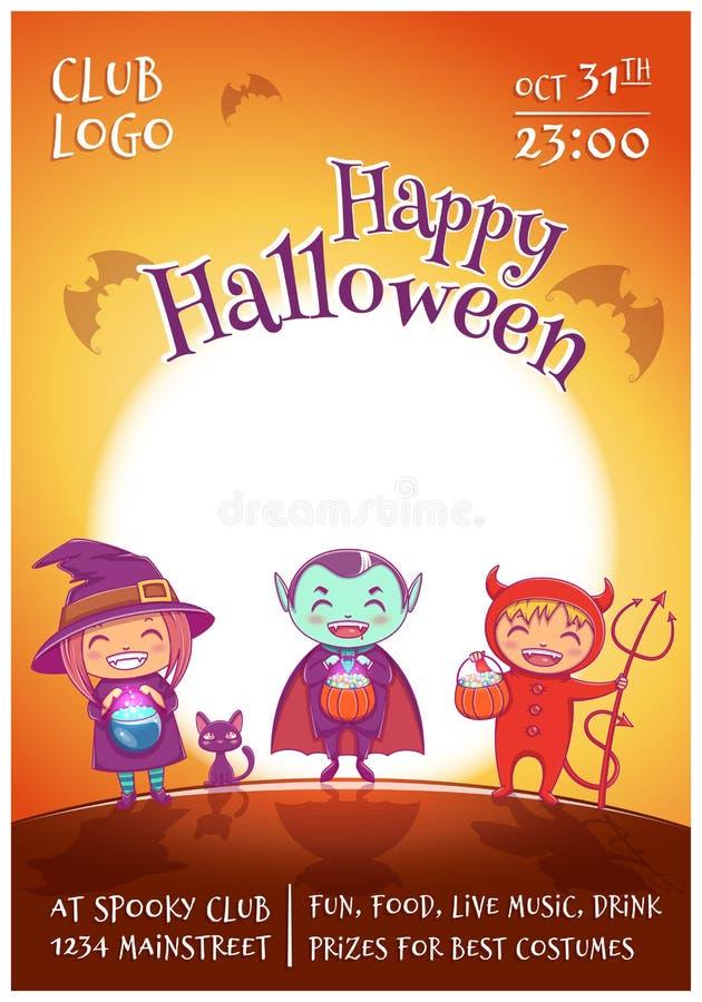 El cartel de Halloween con los niños en trajes de la bruja, el vampiro y el diablo para el feliz Halloween van de fiesta En fondo ilustración del vector
