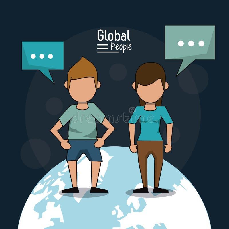 El cartel de la gente global con el fondo azul marino con los pares anónimos sobre la tierra y el texto del planeta dialoga libre illustration