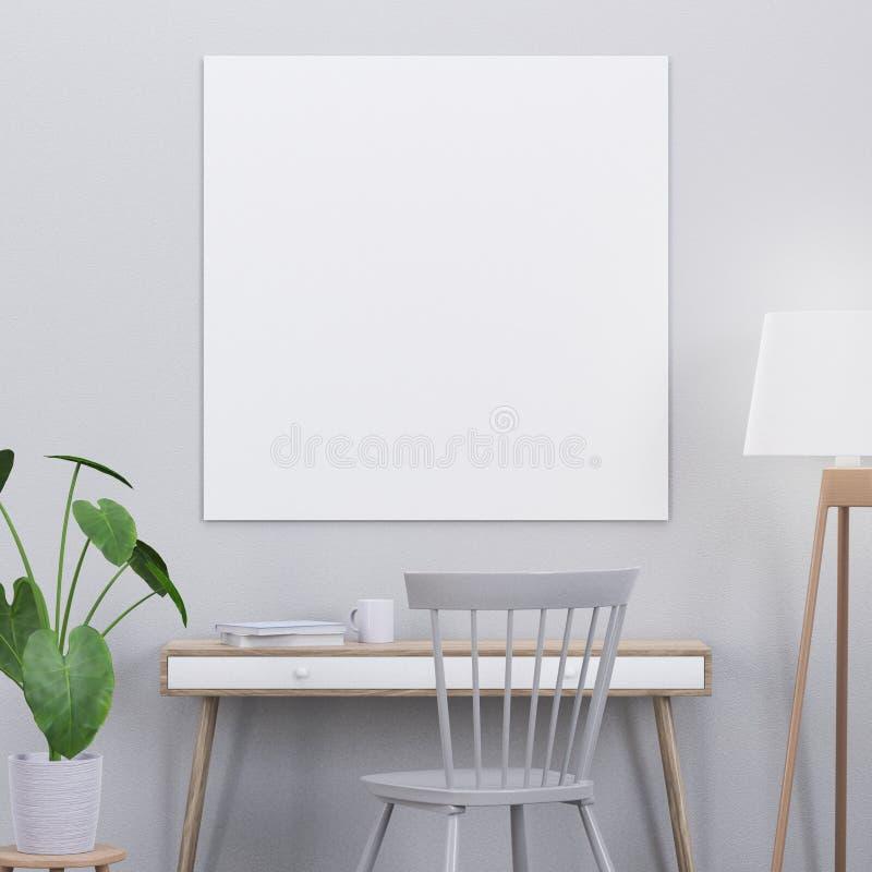 El cartel de la maqueta en un interior moderno con una consola y una silla, 3D rinde stock de ilustración