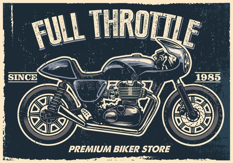 El cartel de la motocicleta del vintage, textura es fácil de quitar ilustración del vector
