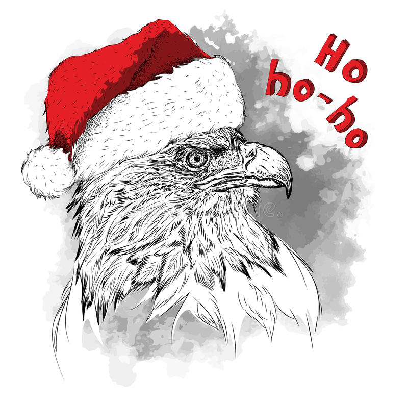 El cartel de la Navidad con el retrato del águila de la imagen en sombrero del ` s de Papá Noel Tienda extrema del deporte libre illustration