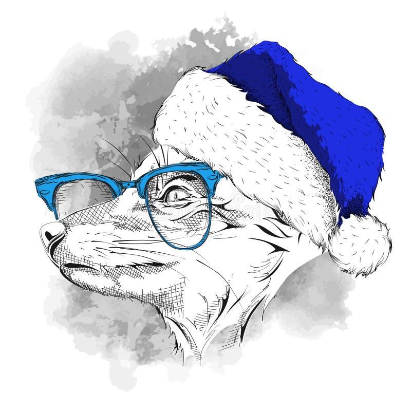 El cartel de la Navidad con el retrato del zorro de la imagen en sombrero del ` s de Papá Noel Ilustración del vector stock de ilustración