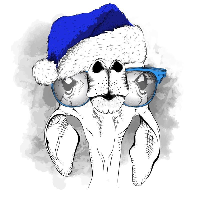 El cartel de la Navidad con el retrato de los ciervos de la imagen en sombrero del ` s de Papá Noel Ilustración del vector libre illustration