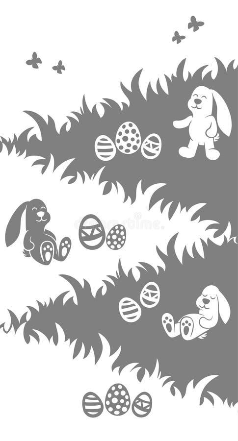 El cartel de la silueta de Pascua - sueño de los conejitos siéntese y juego en hierba - los huevos caza stock de ilustración