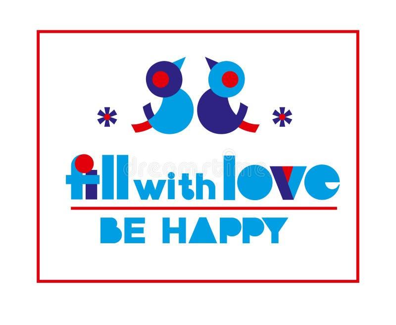 El cartel de la tipografía del día de San Valentín con el terraplén del texto con amor, sea feliz para el diseño de la bandera, t libre illustration