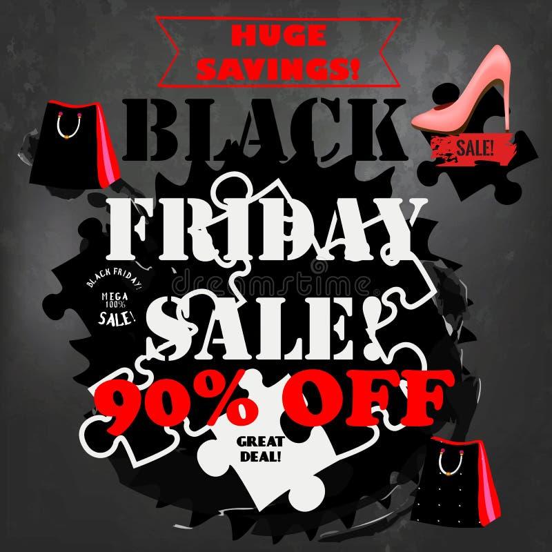 El cartel de la venta de Black Friday en un tablero de tiza para la venta diseña libre illustration