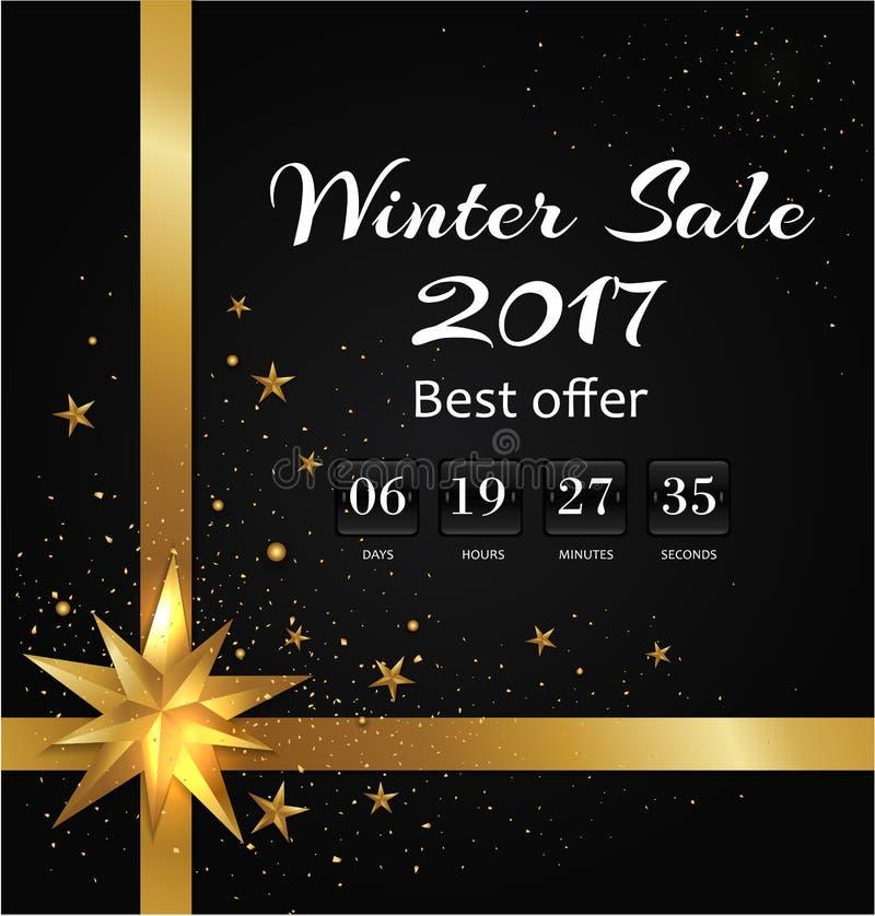 El cartel de la venta del invierno con retrocede la Navidad del contador de tiempo stock de ilustración