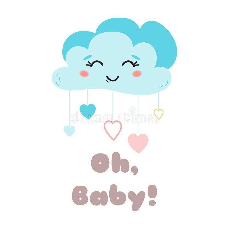 El cartel de los niños manda un SMS oh a la nube azul linda del bebé con el ejemplo feliz del vector del elemento de la llegada d stock de ilustración