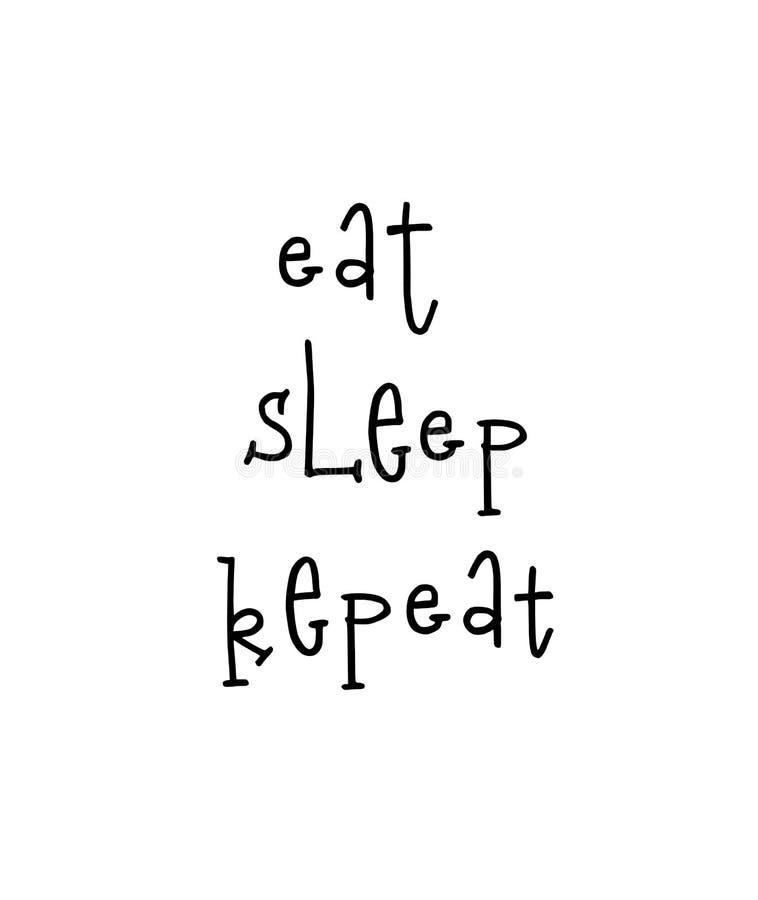El cartel de motivación con poner letras a cita come la repetición del sueño libre illustration