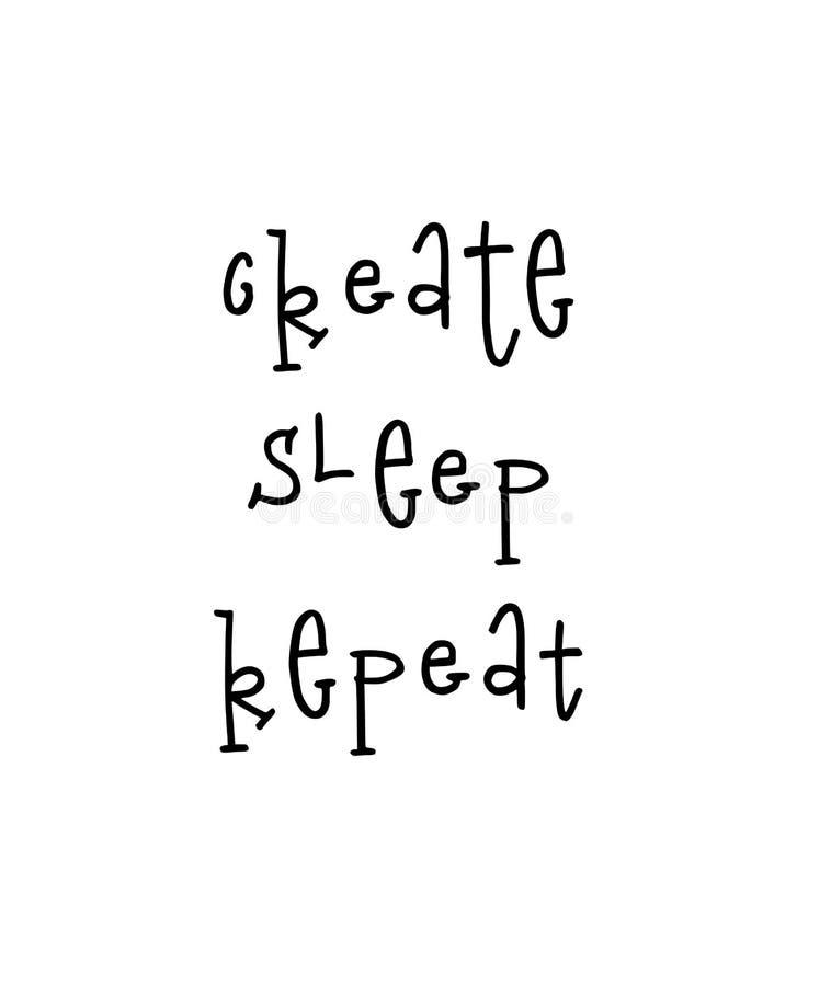 El cartel de motivación con poner letras a cita crea la repetición del sueño ilustración del vector