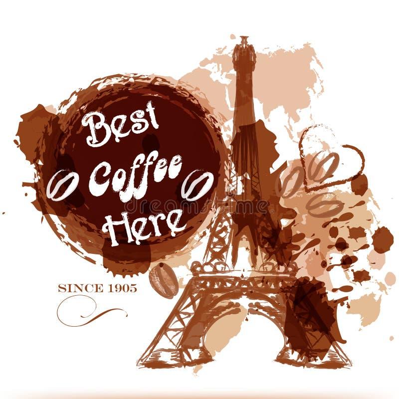 El cartel del café del Grunge con la torre Eiffel pintada por el café estiliza ilustración del vector