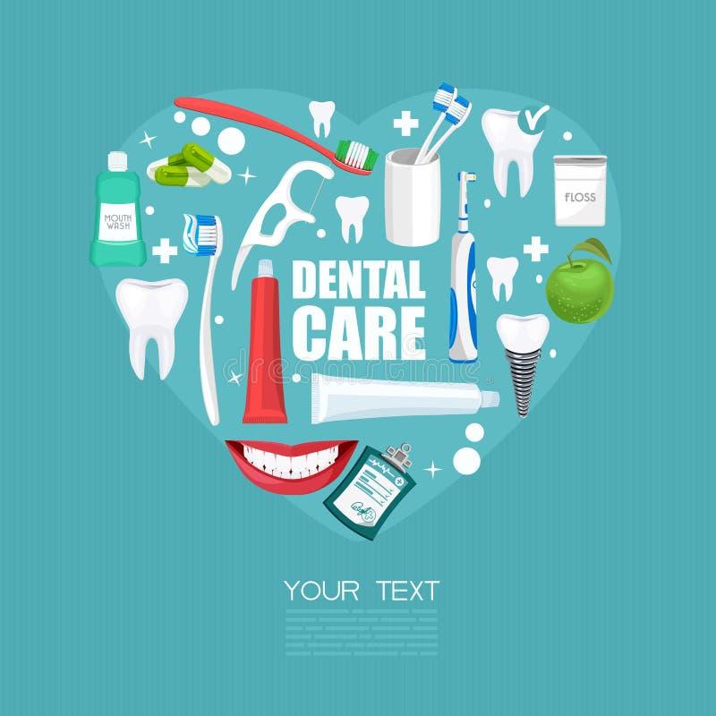 El cartel del cuidado dental con equipos y el corazón forman ilustración del vector
