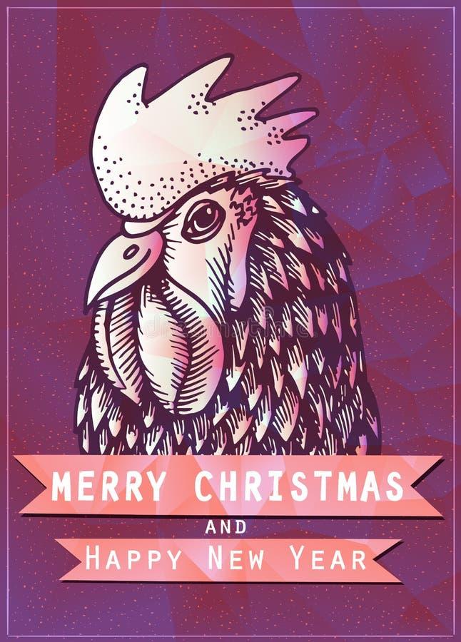 El cartel del día de fiesta del vintage para la Feliz Navidad y la Feliz Año Nuevo van de fiesta ilustración del vector