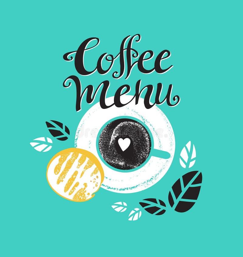 El cartel del desayuno del vintage con la taza de café y la tostada Vector el ejemplo con las letras elegantes ilustración del vector