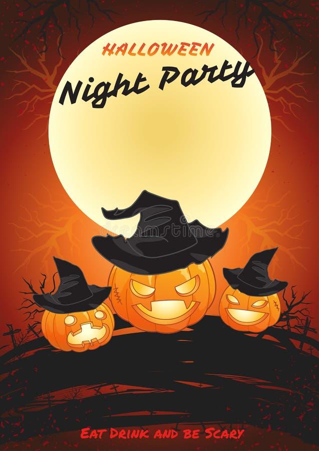 El cartel del partido de la noche de Halloween come la bebida y sea asustadizo ilustración del vector