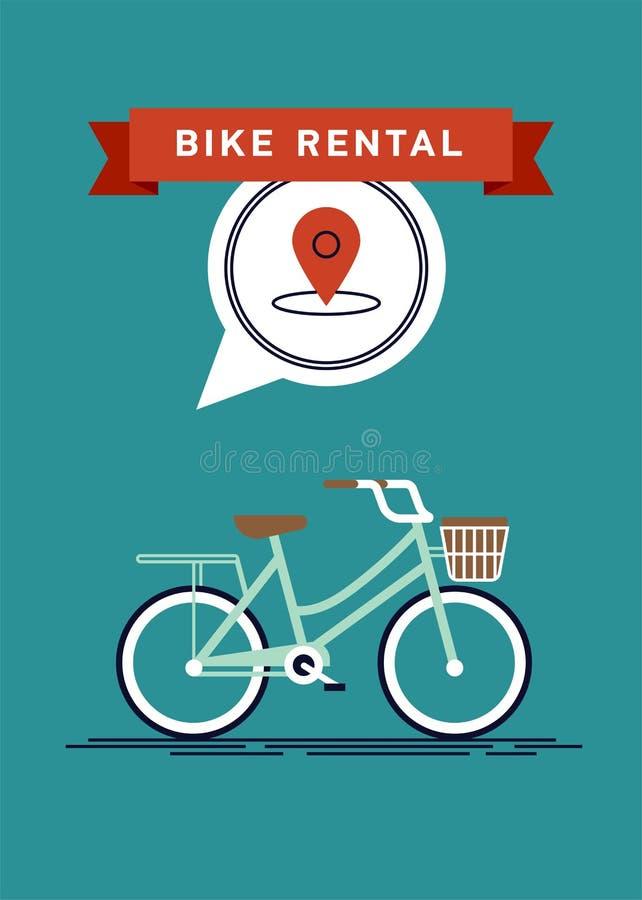 El cartel del vector o la plantilla fresco de la bandera en alquiler del alquiler de la bici de la ciudad viaja para los turistas ilustración del vector