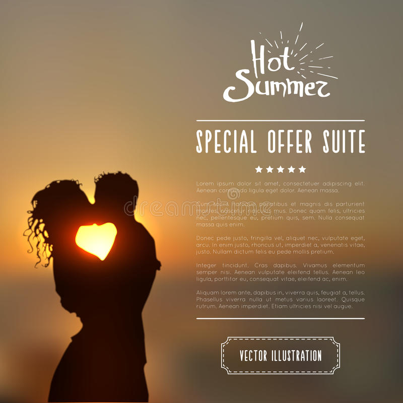 El cartel del verano con la silueta de los pares que se besaba contra un paisaje marino de la puesta del sol empañó el fondo ilustración del vector