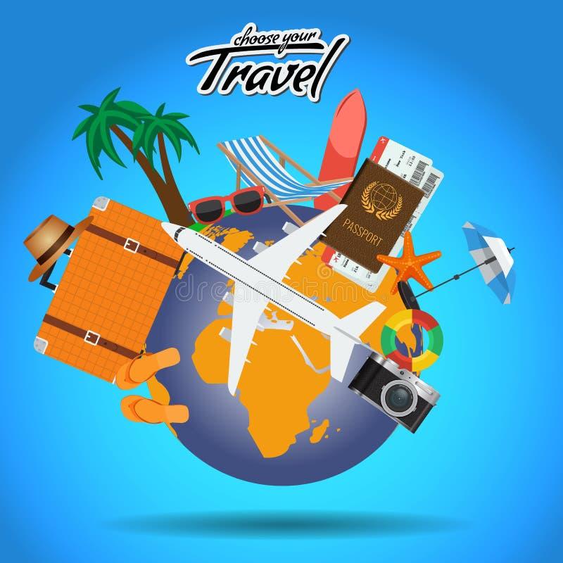 El cartel del viaje y del viaje diseña en todo el mundo con los elementos del verano Plantilla de la disposición de publicidad de ilustración del vector