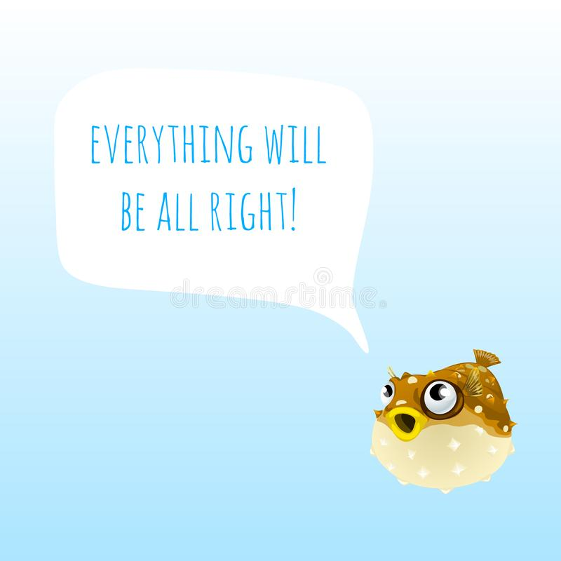 El cartel divertido con los pescados marinos de Fugu o los pescados del fumador y las palabras todo todo correctas Diseño de mues stock de ilustración