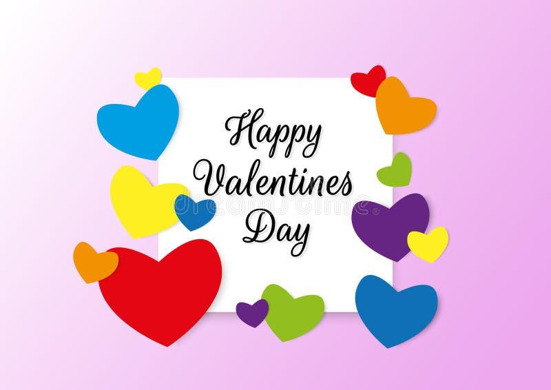 El cartel feliz de la tipografía del día de tarjetas del día de San Valentín con el texto manuscrito y los corazones coloridos de imágenes de archivo libres de regalías