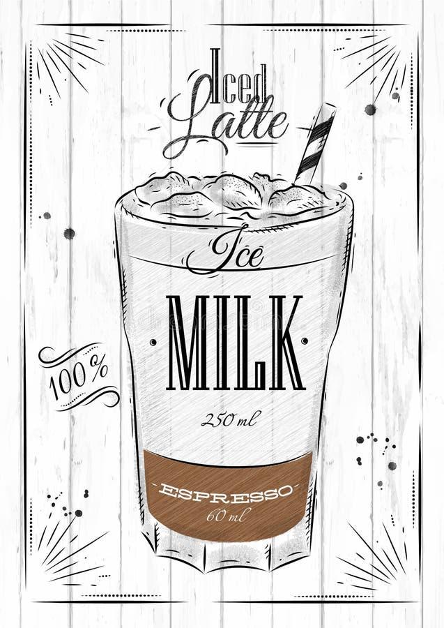 El cartel heló el latte ilustración del vector