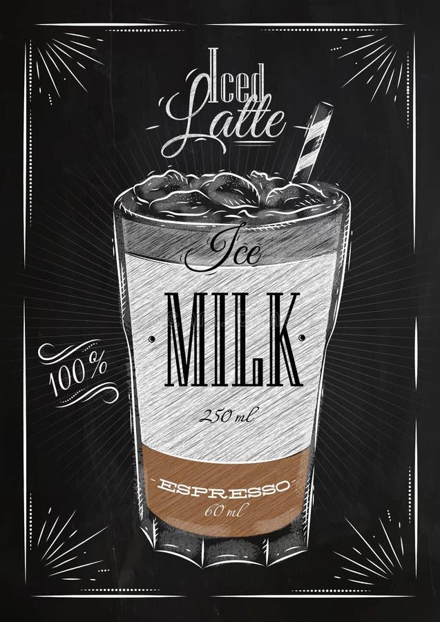 El cartel heló tiza del latte stock de ilustración