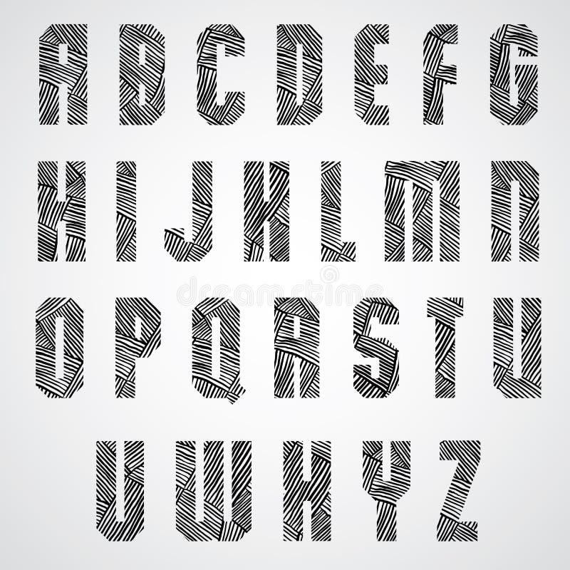 El cartel intrépido de la forma geométrica pone letras a la fuente ilustración del vector