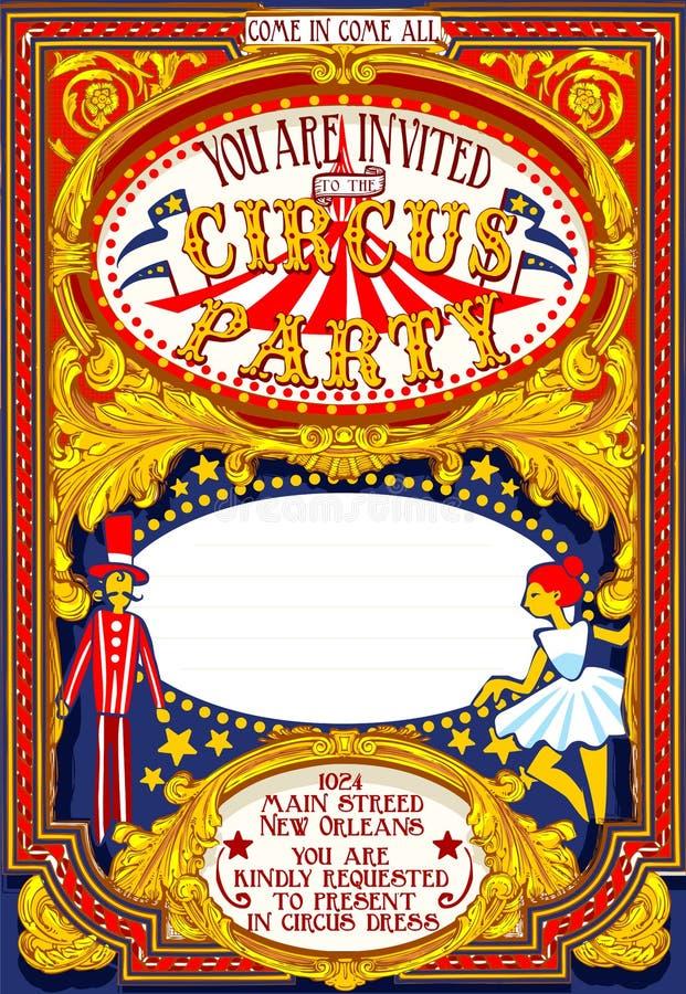 El cartel invita para el carnaval del partido del circo ilustración del vector