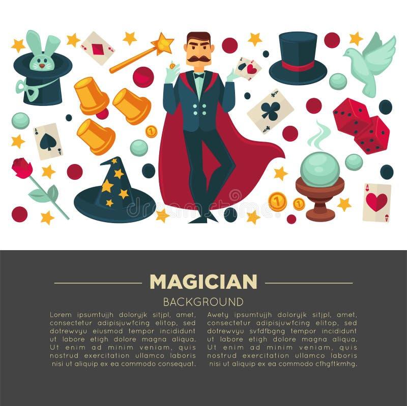 El cartel mágico de la demostración del hombre del mago y el equipo del truco vector iconos planos ilustración del vector